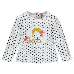 Μακρυάνικη μπλούζα πουά με διακοσμητικό μπάλωμα
