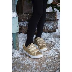 Χαμηλά αθλητικά παπούτσια με χρυσαφί παγιέτες και τριπλό αυτοκόλλητο velcro