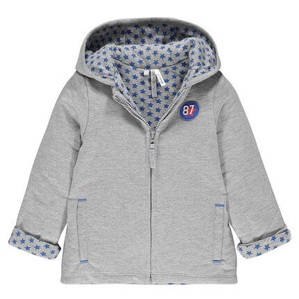 Veste en molleton à capuche avec inscriptions brodées au dos.