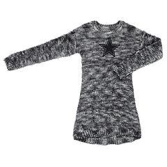 Παιδικά - Μακρυμάνικο πλεκτό φόρεμα μελανζέ με μπάλωμα με αστεράκι