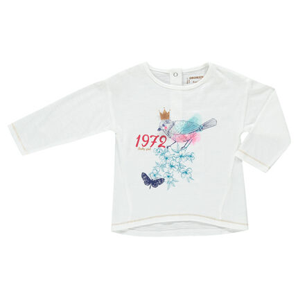 Tee-shirt manches longues en jersey slub print fantaisie