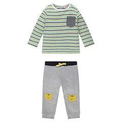 Σύνολο με μακρυμάνικη ριγέ μπλούζα και παντελόνι με μπαλώματα με τίγρεις