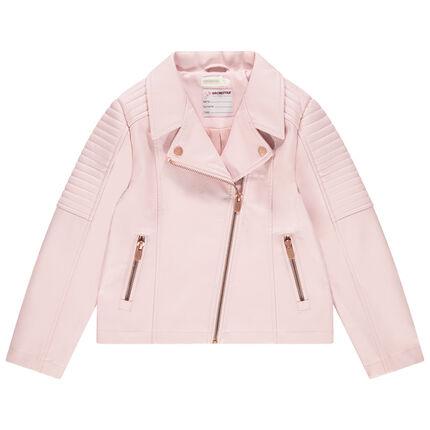 Ροζ τζάκετ perfecto από συνθετικό δέρμα με τσέπες και φερμουάρ