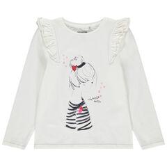 Μπλουζάκι μακρυμάνικο με βολάν και τύπωμα και τύπωμα κοπέλα