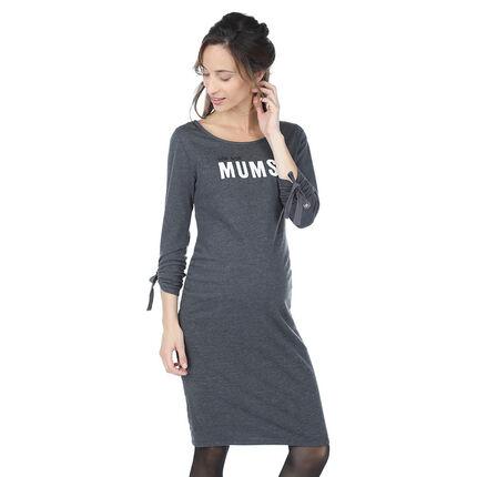 Φόρεμα εγκυμοσύνης από μελανζέ ύφασμα με μήνυμα