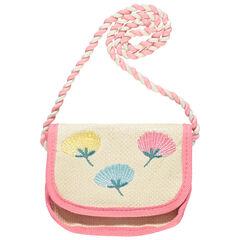 Τσάντα ψάθινη με κεντημένα λουλούδια - Ροζ , Orchestra
