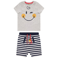 Ensemble avec t-shirt print Smiley et short rayé à poche , Orchestra