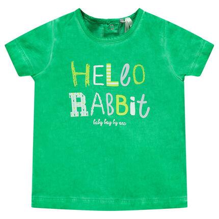 """Κοντομάνικη μπλούζα νηματοβαφή με τύπωμα """"Hello Rabbit"""""""