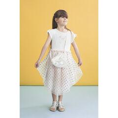 Φόρεμα για ειδικές περιστάσεις από δύο υλικά με τούλι και πουά μοτίβο με παγιέτες