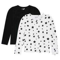 Παιδικά - Σετ με 2 μακρυμάνικες μπλούζες, μία μονόχρωμη/μία εμπριμέ με αστέρια