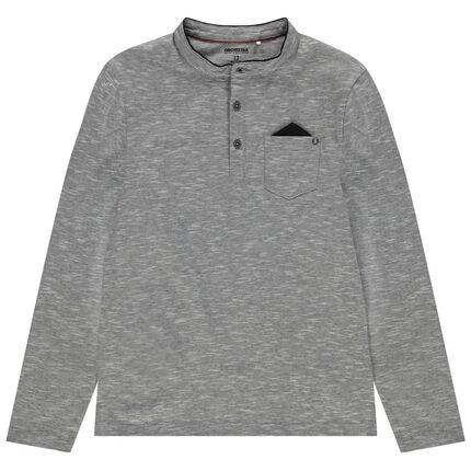 Junior - Polo en jersey fantaisie avec col mao et poche