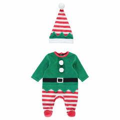Φορμάκι ύπνου βελουτέ με ξωτικό σε χριστουγεννιάτικο πνεύμα, με ριγέ σκουφάκι