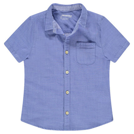 Κοντομάνικο πουκάμισο μπλε με εξωτερική τσέπη