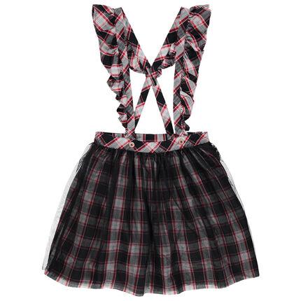 Καρό φούστα με τιράντες, βολάν και μοτίβο Μίνι