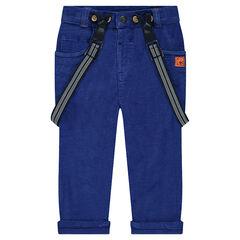 Βελούδινο μπλε παντελόνι με αφαιρούμενες τιράντες