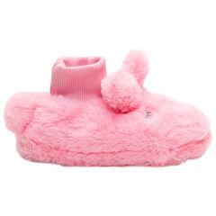 Παντοφλάκια από συνθετική γούνα ροζ με κεφαλάκι κουνελιού