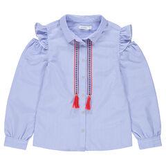 Παιδικά - Μακρυμάνικο πουκάμισο ριγέ με άνοιγμα στους ώμους και κεντημένες μπορντούρες
