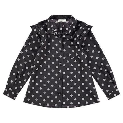 Μακρυμάνικο πουά πουκάμισο με τσέπη
