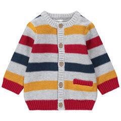 Gilet en tricot à rayures doublé jersey