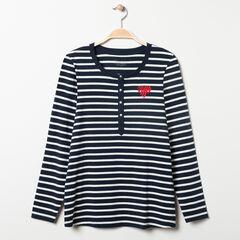T-shirt μακρυμάνικο homewear εγκυμοσύνης ριγέ , Prémaman