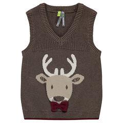 Αμάνικο πλεκτό πουλόβερ με ζακάρ σχέδιο