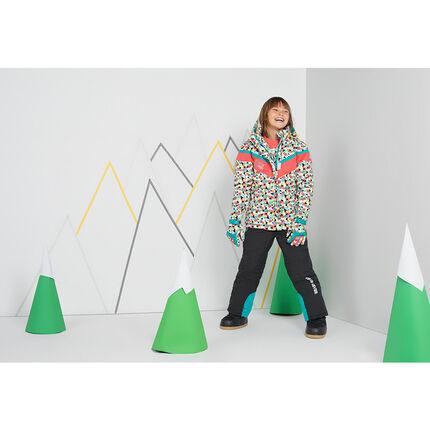 Παιδικά - Μπουφάν σκι με γεωμετρικό μοτίβο και αφαιρούμενη κουκούλα