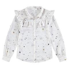 Παιδικά - Μακρυμάνικο πουκάμισο με μοτίβο γαλαξία σε όλη την επιφάνεια