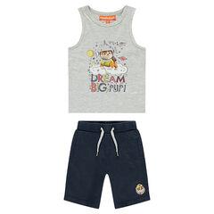 Σετ αμάνικο μπλουζάκι με στάμπα Ruben PAW Patrol και μονόχρωμη βερμούδα Nickelodeon™