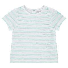 Κοντομάνικη μπλούζα με ανάγλυφες ρίγες και μπάλωμα με αστεράκι