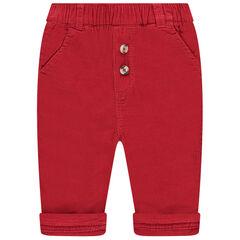 Pantalon rouge en velours doublé jersey
