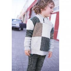 Πλεκτό ζακάρ πουλόβερ με καρό και φερμουάρ στο λαιμό