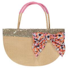 Μεγάλη τσάντα με όψη ψάθας και καρό φιόγκο