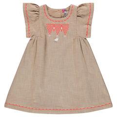 Βαμβακερό φόρεμα με κεντήματα και φουντίτσα