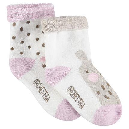Σετ 2 ζευγάρια ασορτί κάλτσες με ζακάρ πουά και ζωάκι