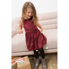 Αμάνικο φόρεμα με βολάν και πουά βελουτέ μοτίβο