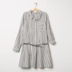Παιδικά - Μακρυμάνικο φόρεμα με κάθετες ρίγες και μεταλλιζέ ζώνη