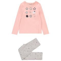 Pyjama en jersey motif lunes et étoiles