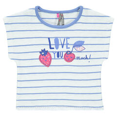 Tee-shirt rayé manches courtes avec patchs et franges