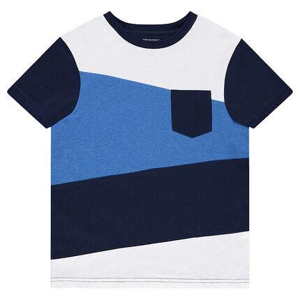 Κοντομάνικη τρίχρωμη μπλούζα με τσέπη