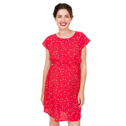 Κοντομάνικο φόρεμα εγκυμοσύνης με διάσπαρτο σχέδιο