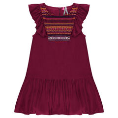 Αμάνικο φόρεμα από τουίλ ύφασμα με κεντήματα και βολάν
