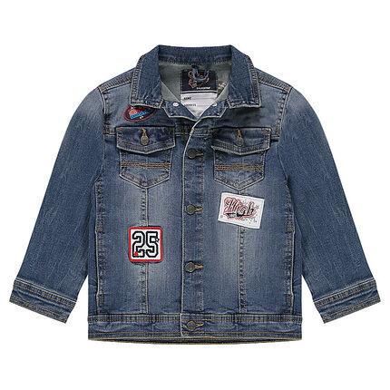 Τζιν μπουφάν με φθαρμένη όψη, μπαλώματα και τσέπες