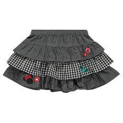Κοντή φούστα με βολάν από σαμπρέ ύφασμα και σε μικρό καρό με τη Minnie της Disney