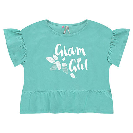 Κοντή μπλούζα από ζέρσεϊ με βολάν και τυπωμένη φράση