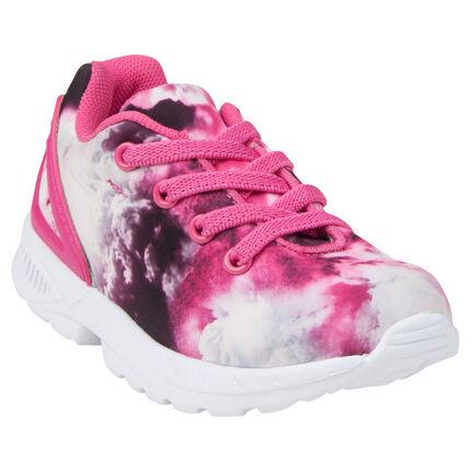 Χαμηλά αθλητικά παπούτσια με φαντεζί σχέδιο και λαστιχένια κορδόνια