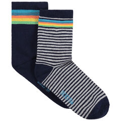 Σετ 2 ζευγάρια ασορτί κάλτσες με πολύχρωμες ρίγες