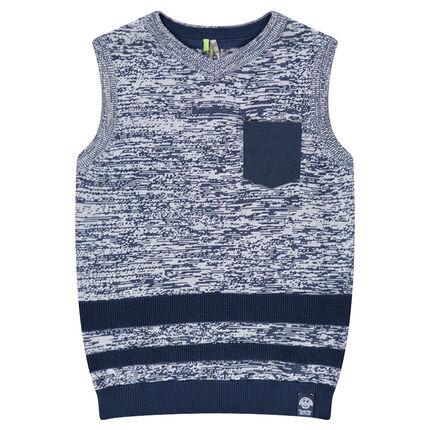 Junior - Pull sans manches en tricot avec poche