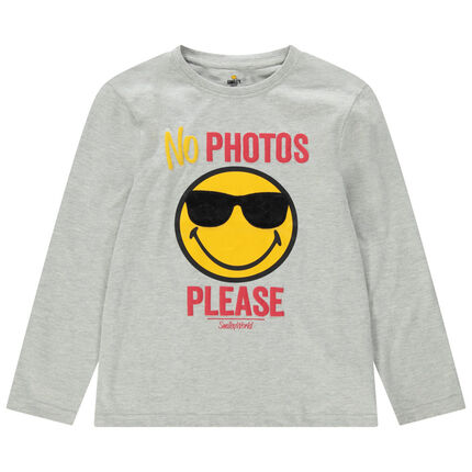 Παιδικά - Μακρυμάνικη μπλούζα ζέρσεϊ με Smiley και γυαλάκια από sherpa