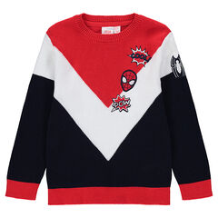 Τρίχρωμο πλεκτό πουλόβερ με κεντημένα σήματα Spiderman της ©Marvel