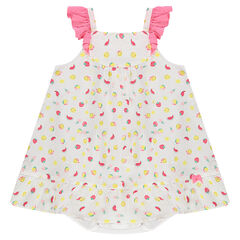 Φόρεμα 2 σε 1 από βαμβακερό ύφασμα με μοτίβο ©Smiley και ενσωματωμένη φουφούλα